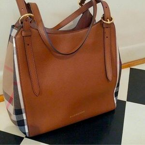 Burberry small Canterbury tan grained leather tote